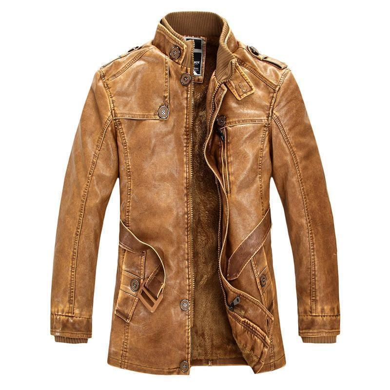 New High Quality Leather Jacket For Men Slim Warm Stand Collar-YELLOW SOIL-M-JadeMoghul Inc.