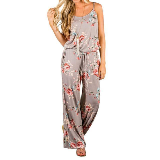 New Kawaii Floral Jumpsuit Fashion Women Spaghetti Strap Long Playsuits Casual Beach Long Pants Jumpsuits Overalls Pockets GV736-Gray-S-JadeMoghul Inc.