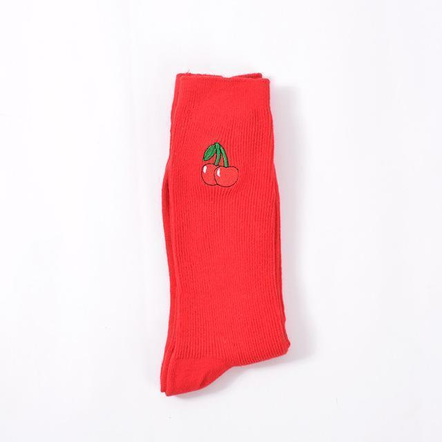 New Korean Pile Heap Socks Retro Embroidery Long Section Of Cotton Socks Cute Comfortable Fruit Banana Cherry Pear Pattern Socks AExp