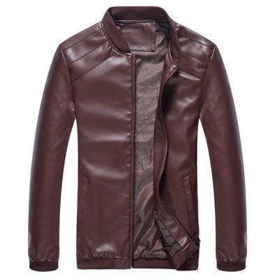 New Leather Jackets - Men's PU Leather Slim Fit Jacket-Dark Brown-M-JadeMoghul Inc.