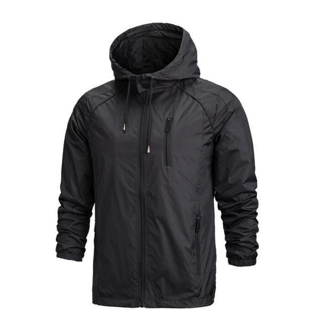 New Men Sportswear Thin Windbreaker Jacket / Outwear Hooded Jacket-Black-L-JadeMoghul Inc.