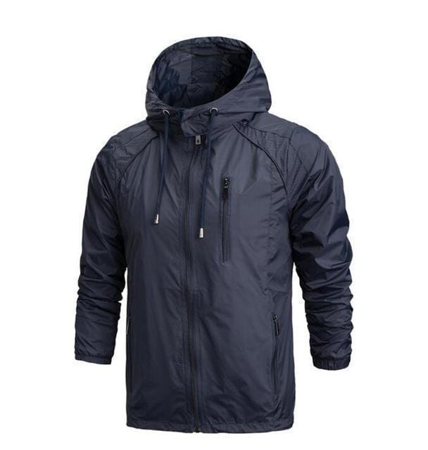 New Men Sportswear Thin Windbreaker Jacket / Outwear Hooded Jacket-Royal blue-L-JadeMoghul Inc.