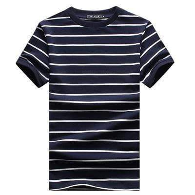 New Men T Shirt 2017 Summer Fashion O-Neck Short-Sleeved Slim Fit Striped T-Shirt Man Casual Undershirt Top Tees Plus Size 5XL AExp
