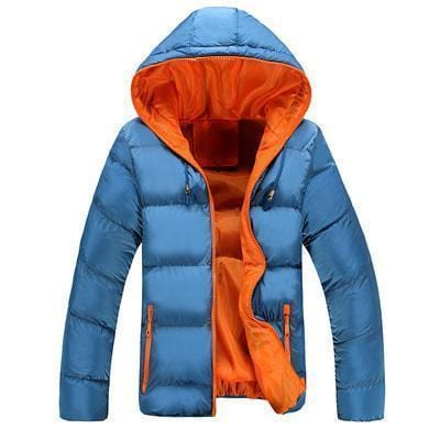 New Men Winter Casual Hooded And Thick Padded Jacket-Blue Orange-M-JadeMoghul Inc.
