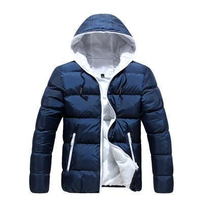 New Men Winter Casual Hooded And Thick Padded Jacket-Blue White-M-JadeMoghul Inc.