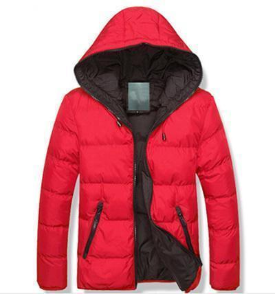 New Men Winter Casual Hooded And Thick Padded Jacket-Red-M-JadeMoghul Inc.