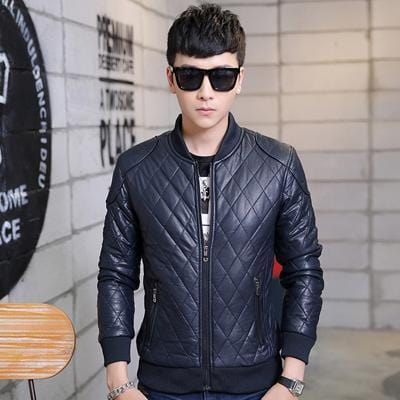 New Men's PU Leather Jacket - Stand Collar Thick Warm Slim Fit Jacket-Blue-M-JadeMoghul Inc.