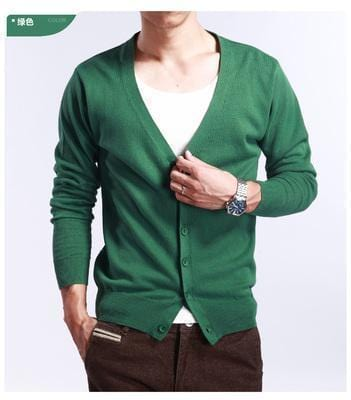 New Men's V-Neck Cardigan / Slim Thin Sweater-Green-S-JadeMoghul Inc.