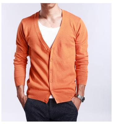 New Men's V-Neck Cardigan / Slim Thin Sweater-Orange-S-JadeMoghul Inc.