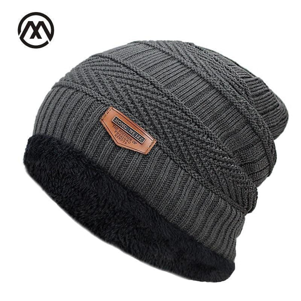 FUZE Winter Hats for Mens Beanies Knitted Wool Skullies Solid Color Bone Double Men Caps