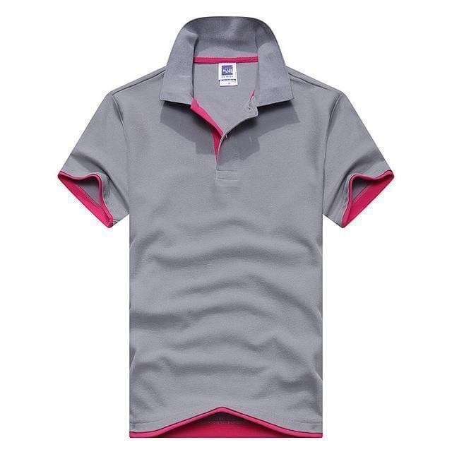 New Polo Short Sleeve Cotton Shirt-Grey Wine red-XL-JadeMoghul Inc.