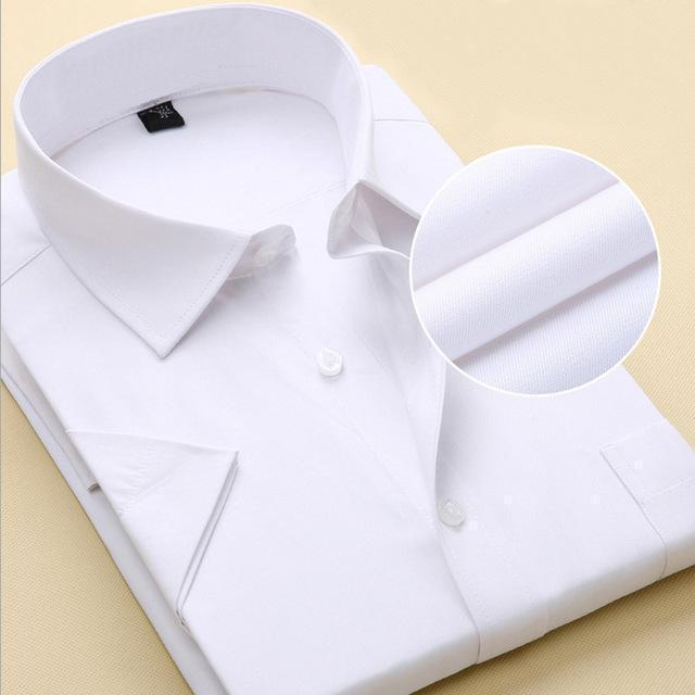 New Short Sleeve Pure Color Business Dress Shirt / Formal Work Shirt For Men-DX1007 11 pure white-XXS-JadeMoghul Inc.