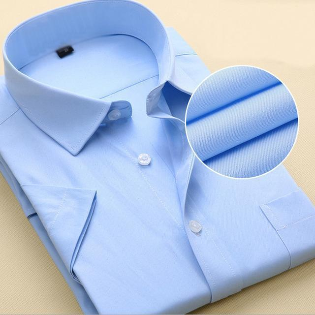 New Short Sleeve Pure Color Business Dress Shirt / Formal Work Shirt For Men-DX1007 12 pure blue-XXS-JadeMoghul Inc.