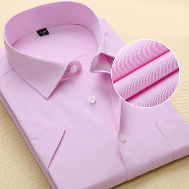 New Short Sleeve Pure Color Business Dress Shirt / Formal Work Shirt For Men-DX1007 13 pure pink-XXS-JadeMoghul Inc.