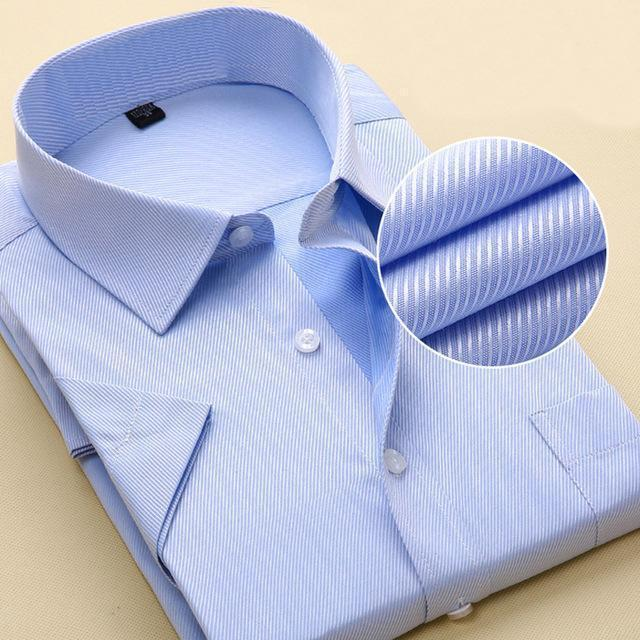 New Short Sleeve Pure Color Business Dress Shirt / Formal Work Shirt For Men-DX1007 7 blue twill-XXS-JadeMoghul Inc.