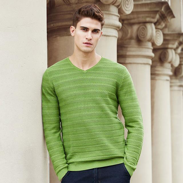 New Sweater For Men / V-Neck Men Sleek pullover-Army Green-M-China-JadeMoghul Inc.