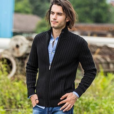 New Sweater For Men / Zipper Cardigan-Cotton Black-M-China-JadeMoghul Inc.