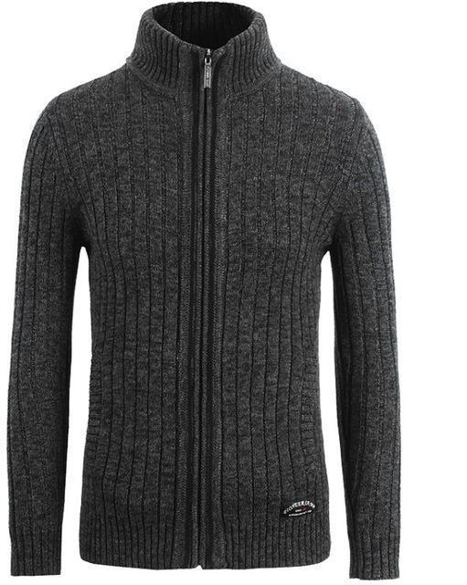 New Sweater For Men / Zipper Cardigan-Dark Grey-M-China-JadeMoghul Inc.