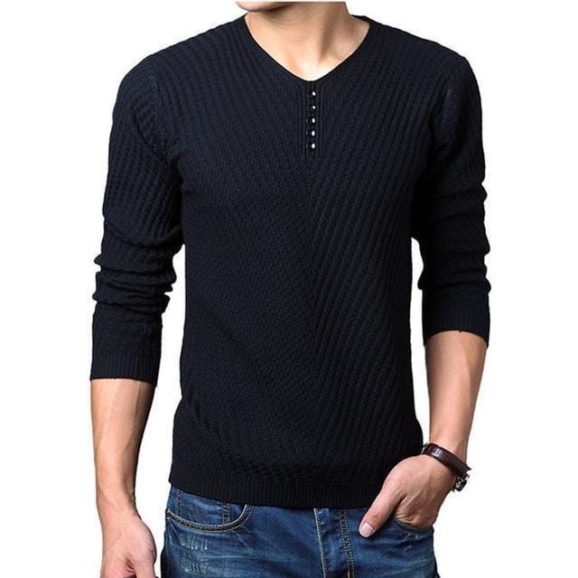 New V-Neck Long Sleeve Slim Fit Men Pullover / Men Cashmere Knitwear-Black-M-JadeMoghul Inc.