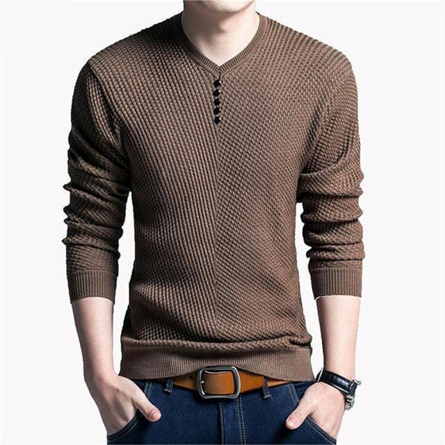 New V-Neck Long Sleeve Slim Fit Men Pullover / Men Cashmere Knitwear-Coffee-M-JadeMoghul Inc.