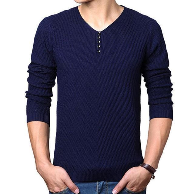 New V-Neck Long Sleeve Slim Fit Men Pullover / Men Cashmere Knitwear-Navy-M-JadeMoghul Inc.