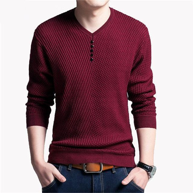New V-Neck Long Sleeve Slim Fit Men Pullover / Men Cashmere Knitwear-Wine Red-M-JadeMoghul Inc.