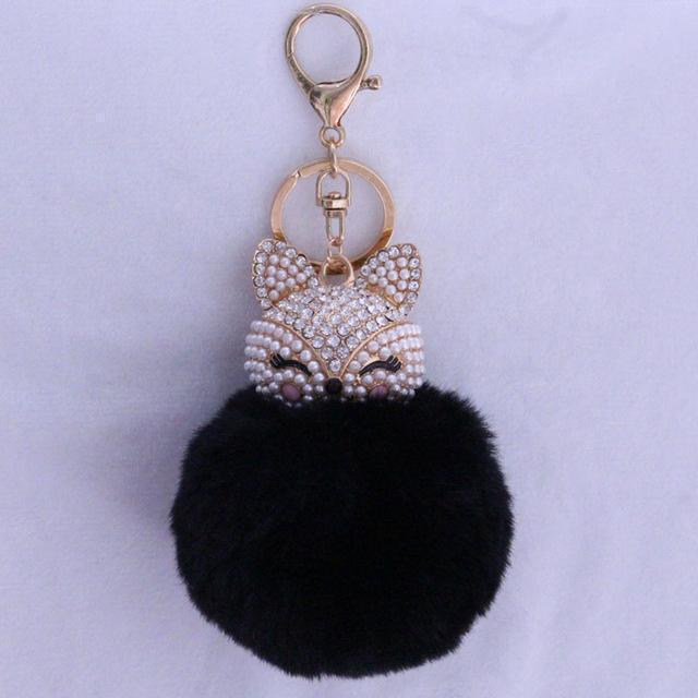 New Women Crystal fluffy Keychain Fox Pompom Key Ring llavero Pom  Rabbit Fur Ball Key Chain Bag Chaveiro Femme Porte clef AExp