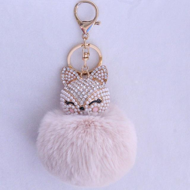 New Women Crystal fluffy Keychain Fox Pompom Key Ring llavero Pom Rabbit Fur Ball Key Chain Bag Chaveiro Femme Porte clef-beige-JadeMoghul Inc.