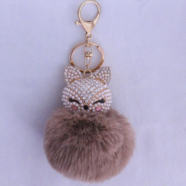 New Women Crystal fluffy Keychain Fox Pompom Key Ring llavero Pom Rabbit Fur Ball Key Chain Bag Chaveiro Femme Porte clef-khaki-JadeMoghul Inc.