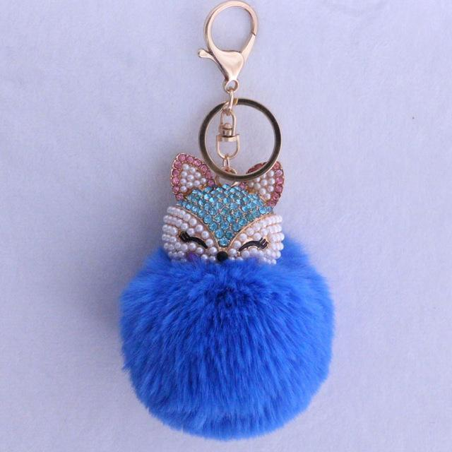 New Women Crystal fluffy Keychain Fox Pompom Key Ring llavero Pom Rabbit Fur Ball Key Chain Bag Chaveiro Femme Porte clef-lake blue-JadeMoghul Inc.