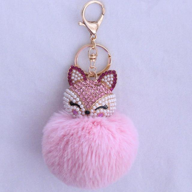New Women Crystal fluffy Keychain Fox Pompom Key Ring llavero Pom Rabbit Fur Ball Key Chain Bag Chaveiro Femme Porte clef-light pink-JadeMoghul Inc.