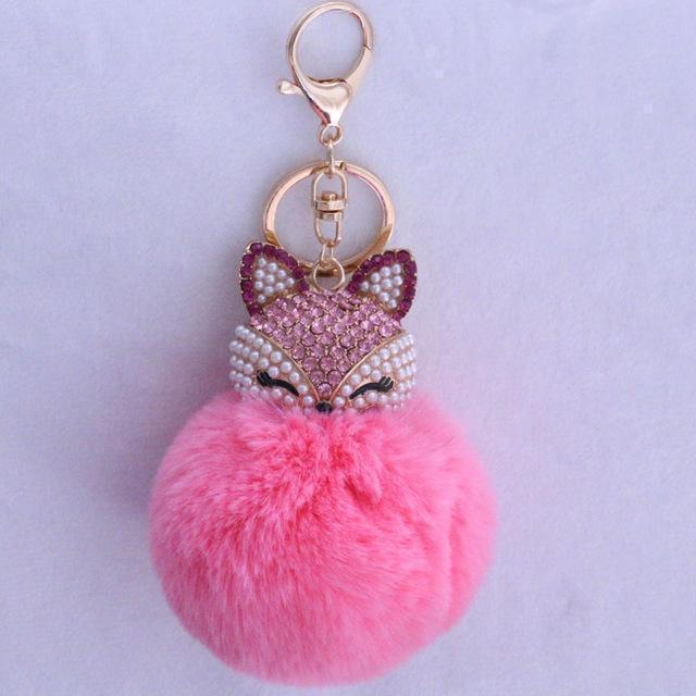 New Women Crystal fluffy Keychain Fox Pompom Key Ring llavero Pom Rabbit Fur Ball Key Chain Bag Chaveiro Femme Porte clef-pink-JadeMoghul Inc.