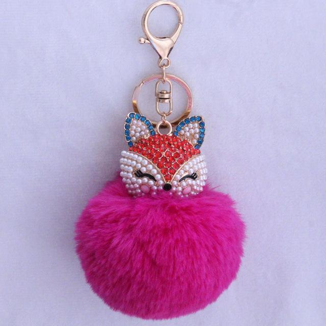 New Women Crystal fluffy Keychain Fox Pompom Key Ring llavero Pom Rabbit Fur Ball Key Chain Bag Chaveiro Femme Porte clef-rose red-JadeMoghul Inc.