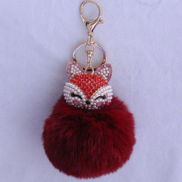 New Women Crystal fluffy Keychain Fox Pompom Key Ring llavero Pom Rabbit Fur Ball Key Chain Bag Chaveiro Femme Porte clef-wine red-JadeMoghul Inc.