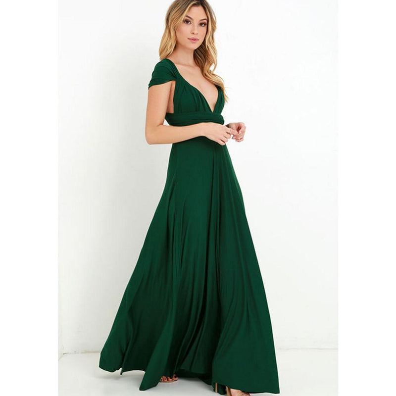 New Women Maxi Dress - Long Dress - Bridesmaids Convertible Wrap Party Dress-1-XXS-JadeMoghul Inc.