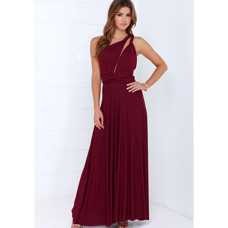 New Women Maxi Dress - Long Dress - Bridesmaids Convertible Wrap Party Dress-14-XXS-JadeMoghul Inc.