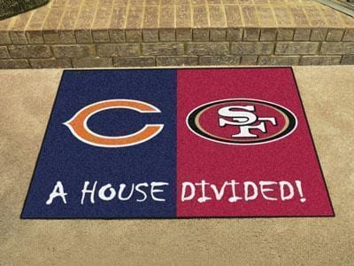 "Large Area Rugs Cheap NFL Bears 49ers House Divided Rug 33.75""x42.5"""