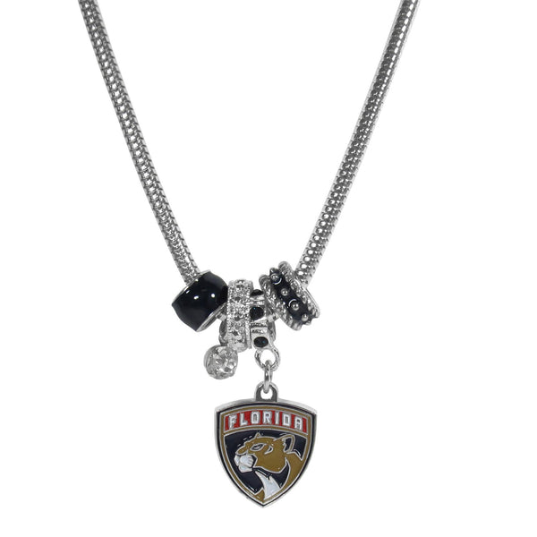 NHL - Florida Panthers Euro Bead Necklace-Jewelry & Accessories,Necklaces,Euro Bead Necklaces,NHL Euro Bead Necklaces-JadeMoghul Inc.