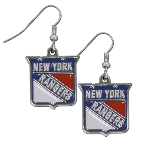 NHL - New York Rangers Chrome Dangle Earrings-Jewelry & Accessories,Earrings,Dangle Earrings,Dangle Earrings,NHL Dangle Earrings-JadeMoghul Inc.