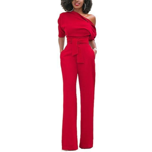 NIBESSER Jumpsuits Women Romper Overalls Sexy One Shoulder Jumpsuit Rompers 2017 Fall Elegant Female Solid Body Suits Z30-Red-S-JadeMoghul Inc.