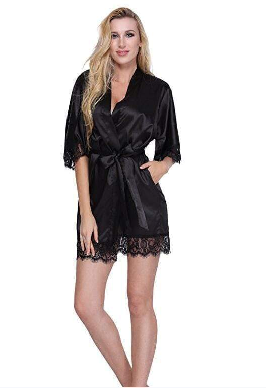 Night Dress For Women Lace Trim Silk Sleep Robe With Lace Trim AExp