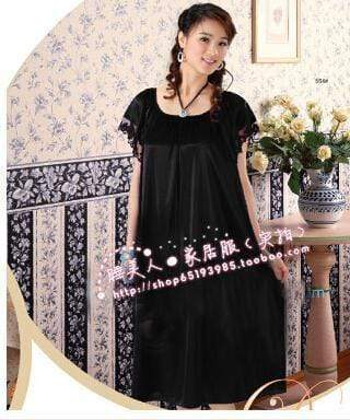 Night Dress For Women - Short Sleeves Silk Night Gown AExp