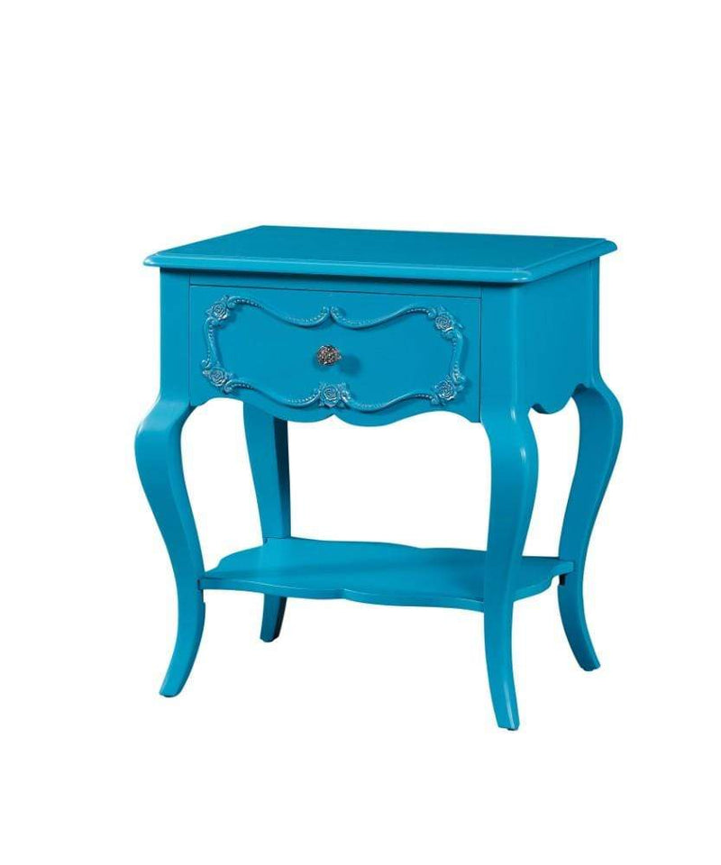 Nightstands and Bedside Tables Traditional Style Wood Nightstand By Edalene, Blue Benzara