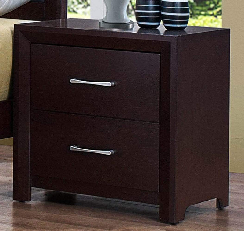 Nightstands and Bedside Tables Wooden Night Stand with 2 Drawers Espresso Brown Benzara