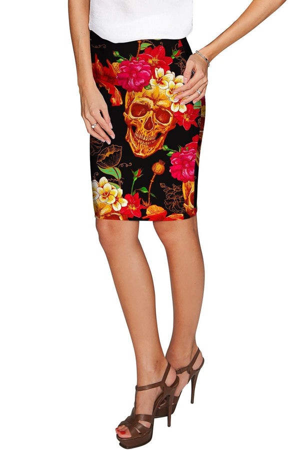 No Doubt Carol Black Printed Stretch Pencil Skirt - Women-No Doubt-XS-Black/Yellow/Red-JadeMoghul Inc.