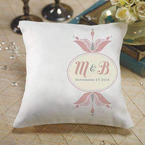 """Notable"" Personalized Ring Pillow with Double Floral Monogram Vintage Pink (Pack of 1)-Wedding Ceremony Accessories-Teal Breeze-JadeMoghul Inc."