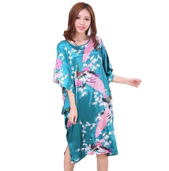 Novelty Print Satin Robe Dress - Novelty Women's Bath Gown-12-One Size-JadeMoghul Inc.