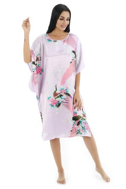 Novelty Print Satin Robe Dress - Novelty Women's Bath Gown-16-One Size-JadeMoghul Inc.