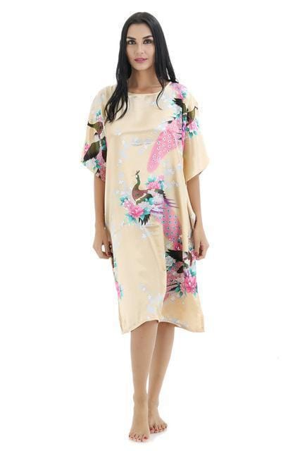 Novelty Print Satin Robe Dress - Novelty Women's Bath Gown-17-One Size-JadeMoghul Inc.