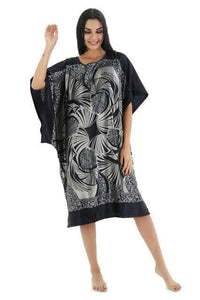 Novelty Print Satin Robe Dress - Novelty Women's Bath Gown-18-One Size-JadeMoghul Inc.